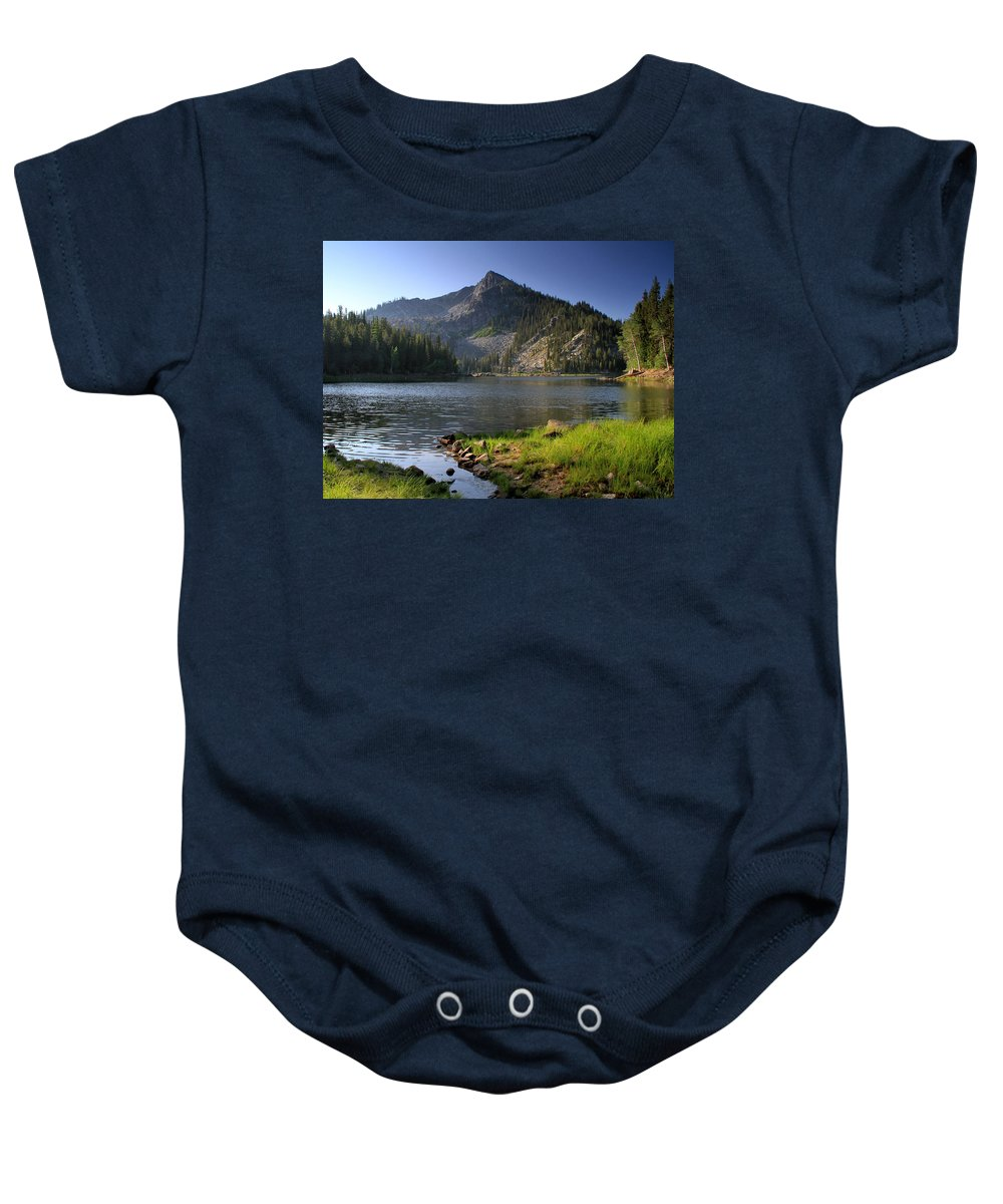 Idaho Baby Onesie featuring the photograph North Face Of Jughandle Mountain by Ed Riche