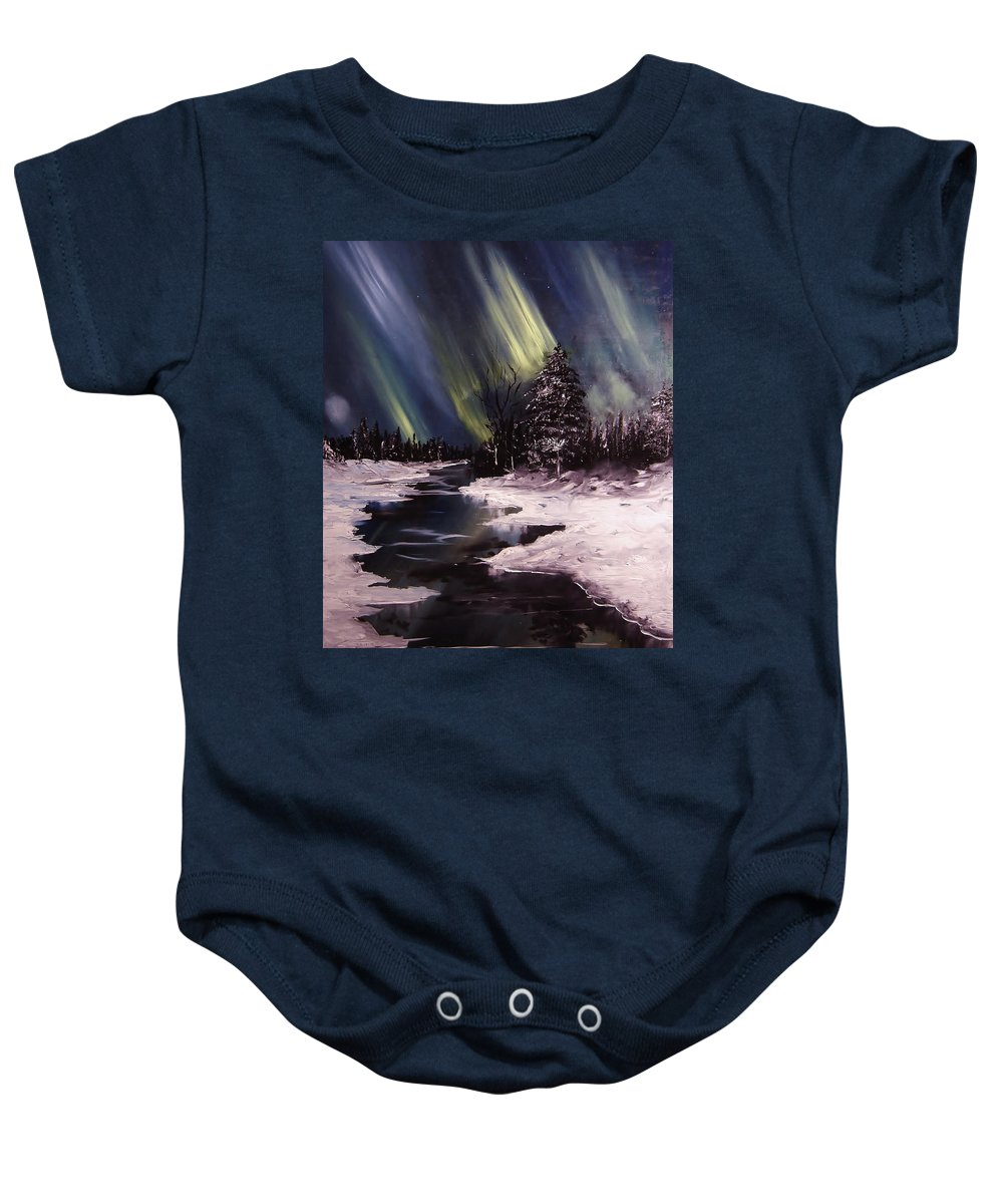 Winter Baby Onesie featuring the painting Northern Exposure by Eugene Budden