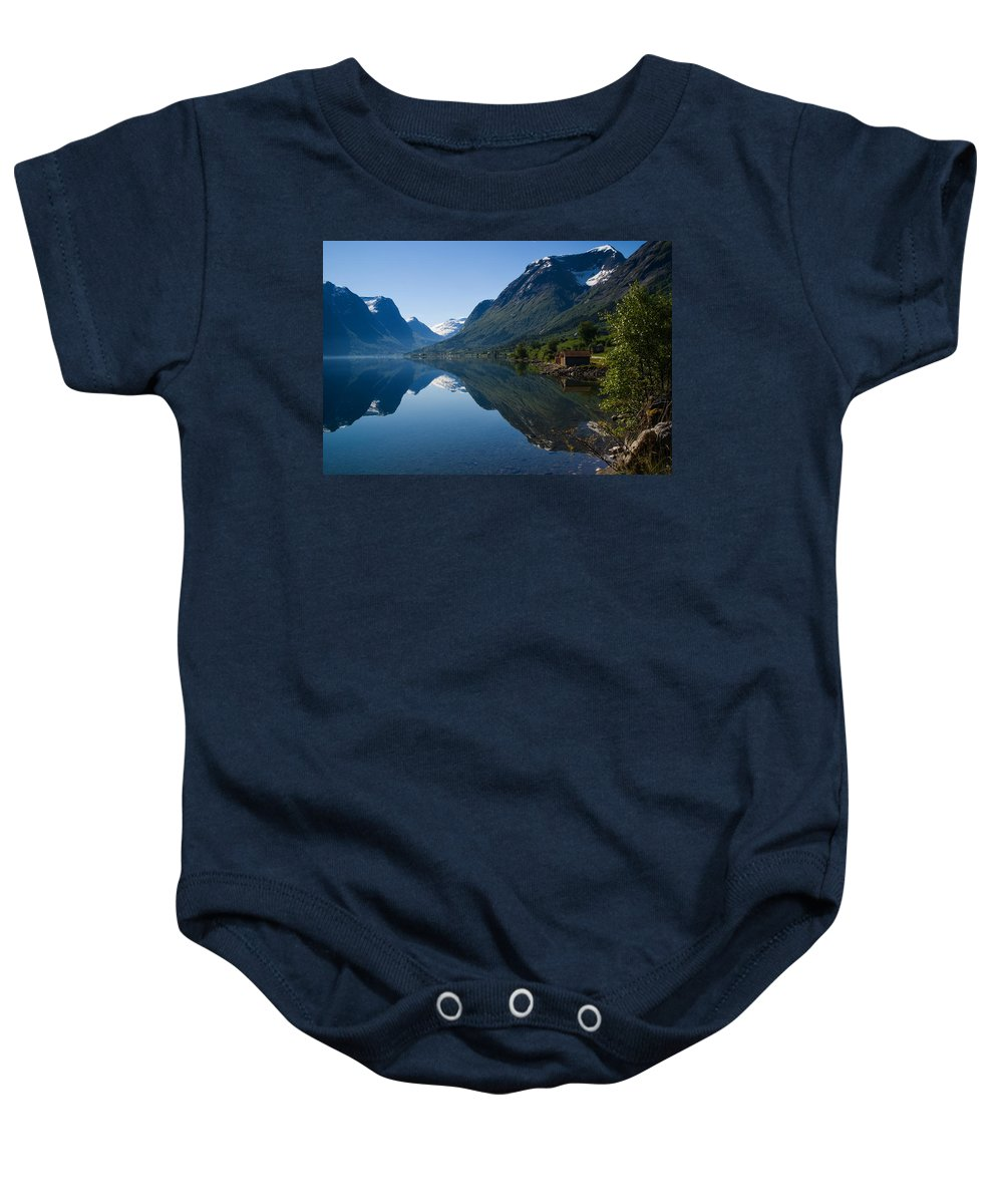 Cottages Baby Onesie featuring the photograph Norwegian Cottages by Benjamin Reed