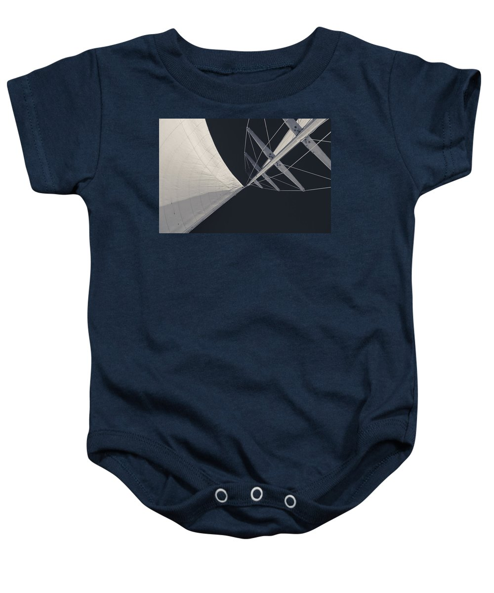 Sails Baby Onesie featuring the photograph Obsession Sails 8 Black And White by Scott Campbell