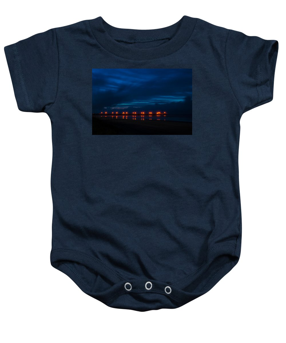 Pier Baby Onesie featuring the photograph Ocean Pier At Dawn 2 by Photos By Cassandra