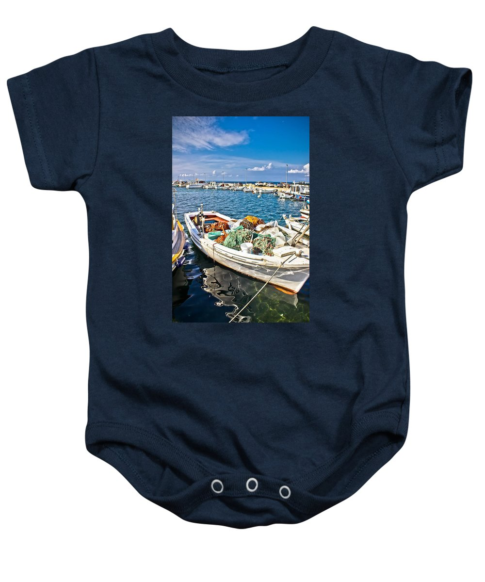 Coast Baby Onesie featuring the photograph Old Fishing Wooden Boat With Nets by Brch Photography