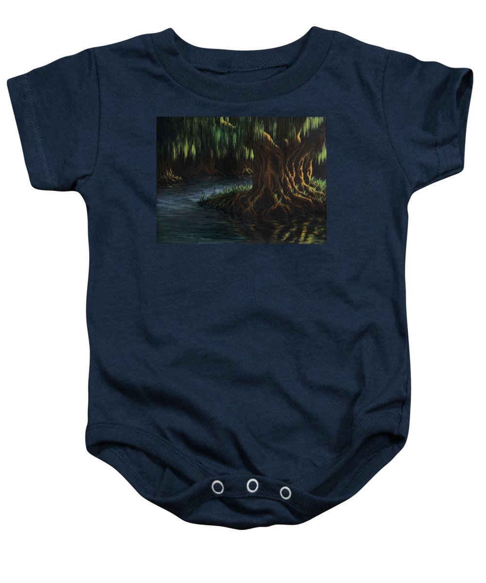 Abstract Baby Onesie featuring the painting Old Man Willow by Rachel Christine Nowicki