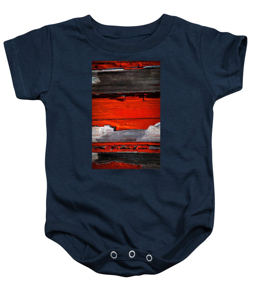 Abstract Baby Onesie featuring the photograph Old Red Barn Three by Bob Orsillo