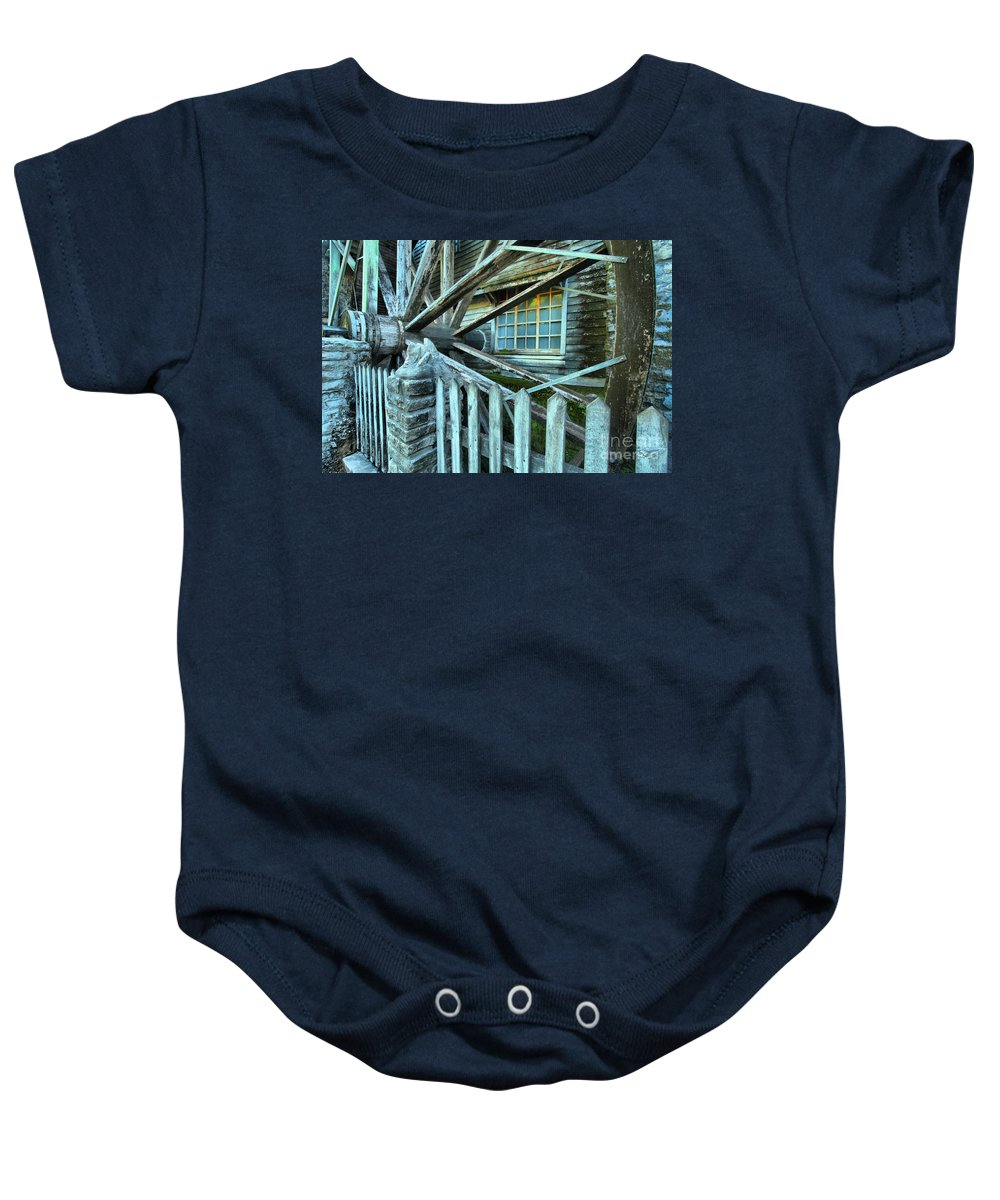 Grist Mill Baby Onesie featuring the photograph Old Time Wheels by Adam Jewell