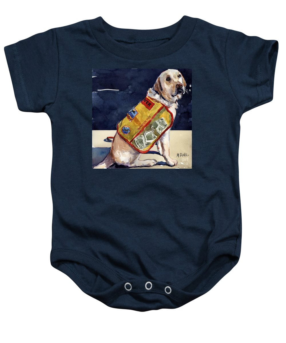 Yellow Lab Baby Onesie featuring the painting Oliver Rocks The Vest by Molly Poole