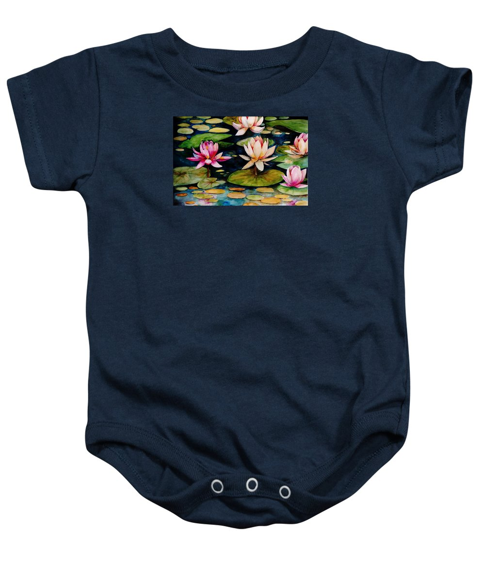 Lily Baby Onesie featuring the painting On Lily Pond by Jun Jamosmos