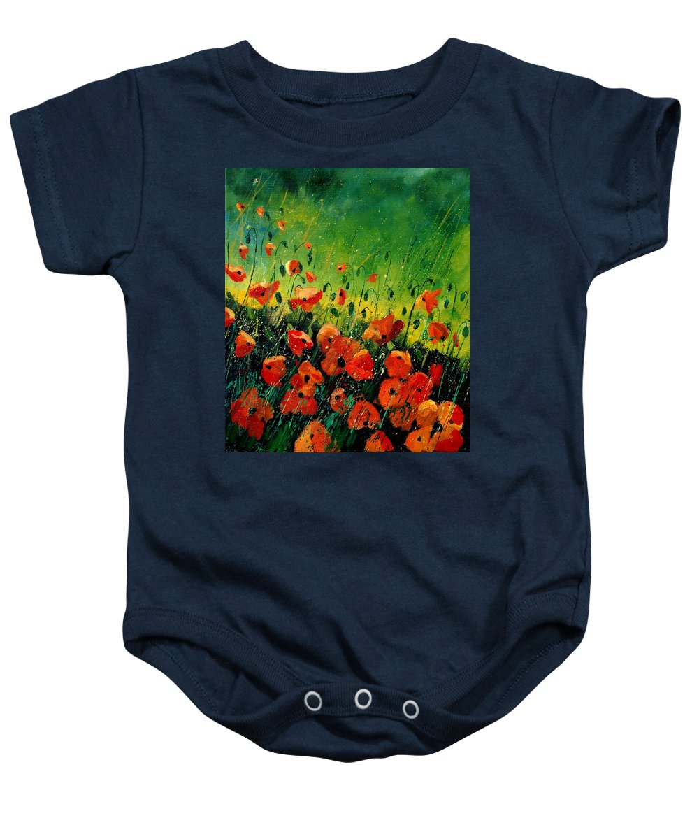 Poppies Baby Onesie featuring the painting Orange Poppies by Pol Ledent