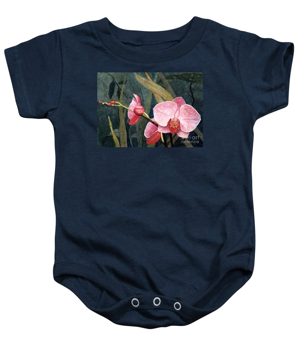 Flowers Baby Onesie featuring the painting Orchid Trio by Barbara Jewell