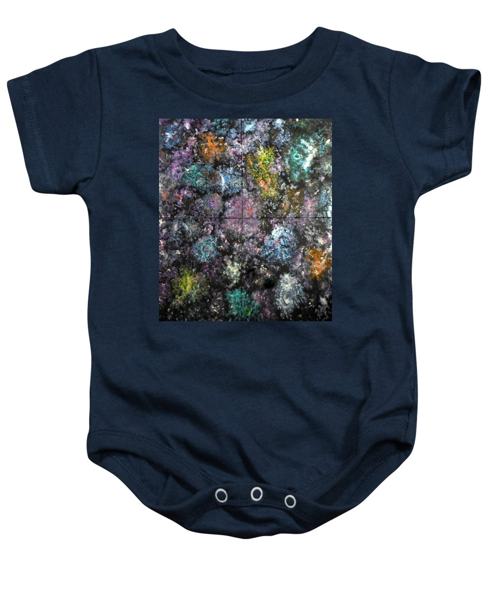 Space Mystique Nebulae Colorful Multicolor Black Abstract Large Musical Optical-illusion 4square Meters Joyful Time-machine Cosmos Space Intrigue Time Past Present Future Death Life Illumination Really Serendipity Serendipitous Reality Baby Onesie featuring the painting Other Dimensions - The Anunnaki by David Mintz