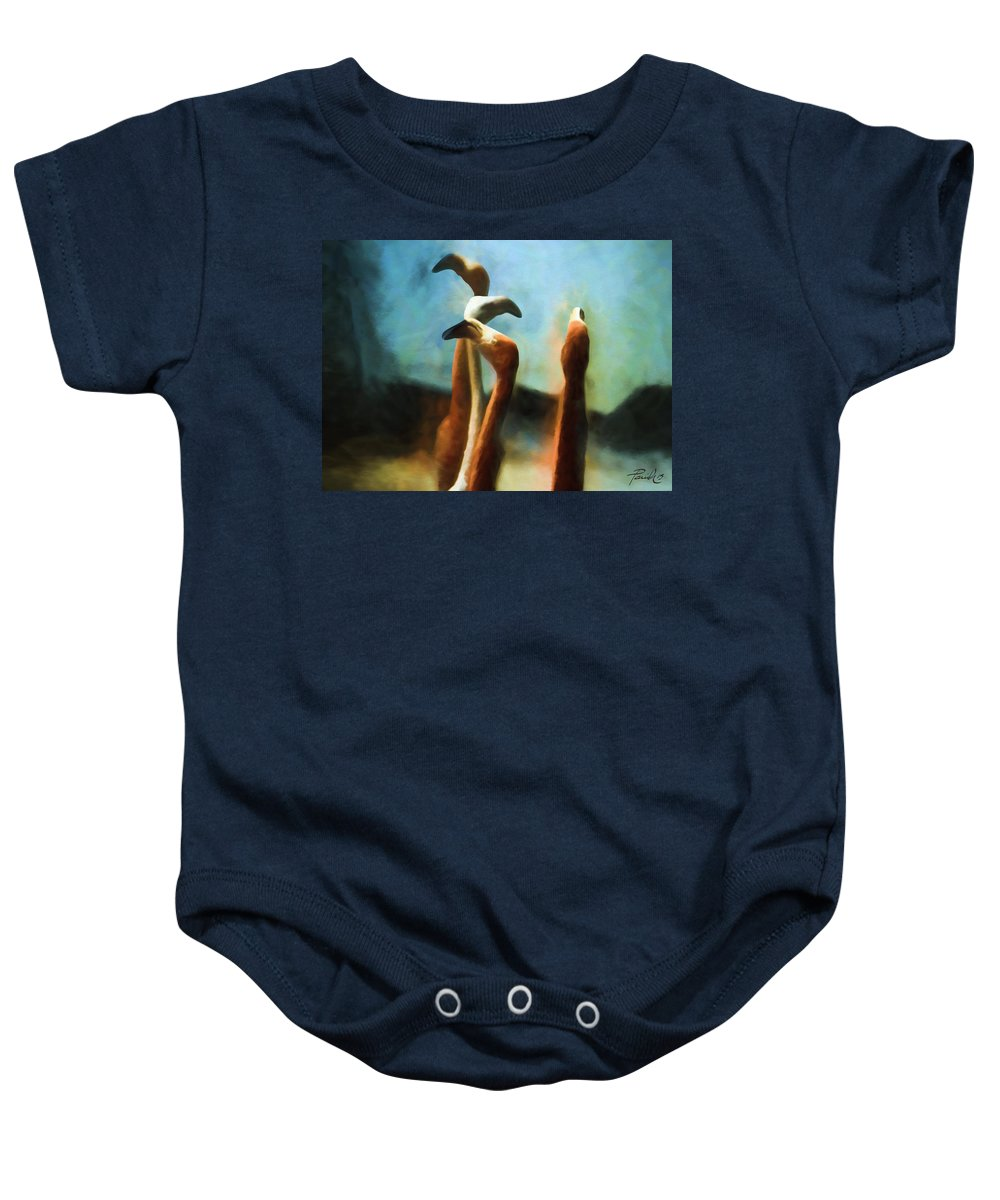 Baby Onesie featuring the digital art Pack Of Pelicans by Patti Parish