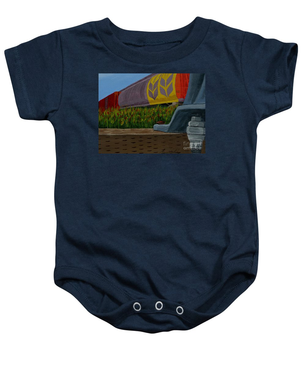 Train Baby Onesie featuring the painting Passing The Wild Ones by Anthony Dunphy