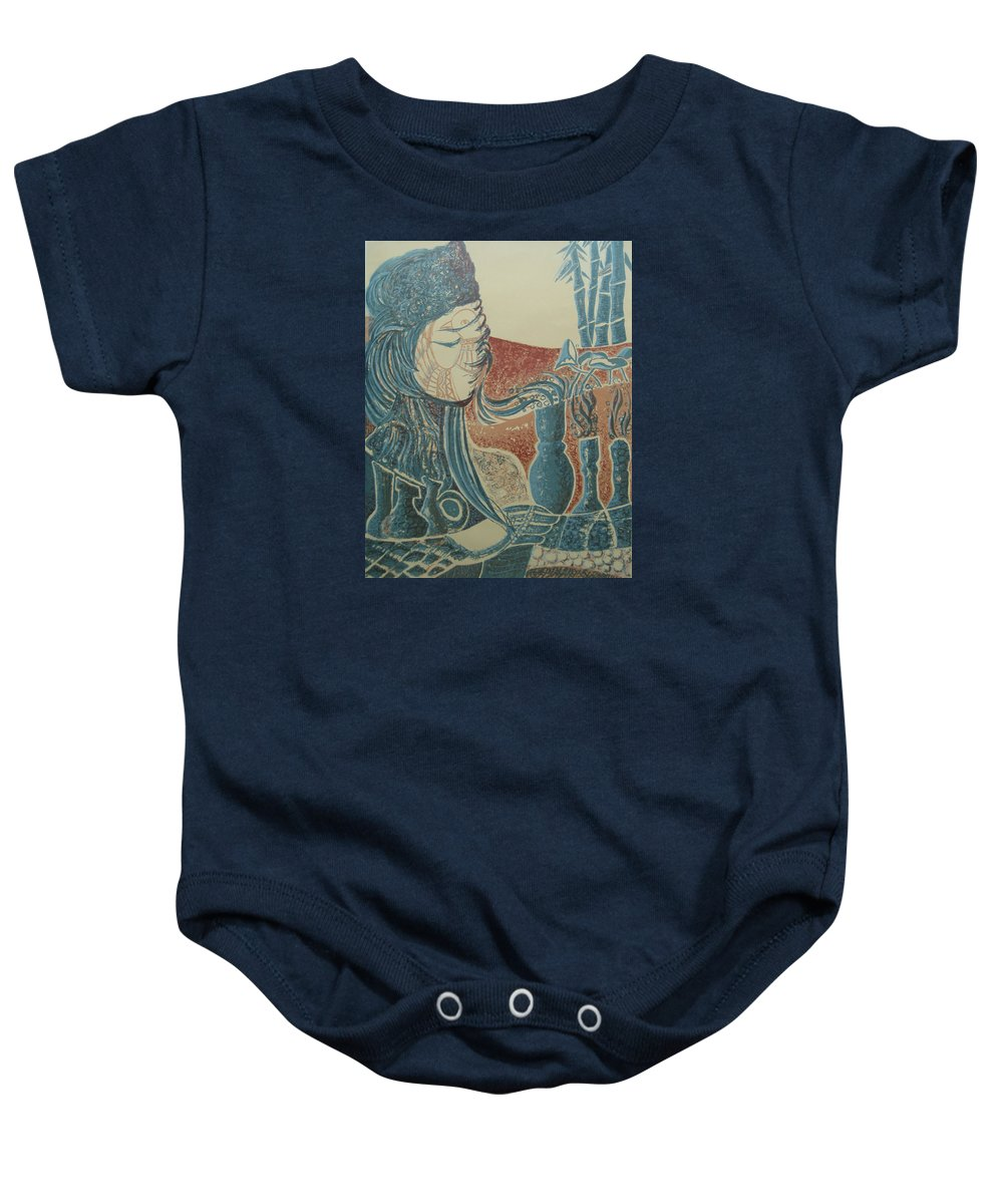 Prints Baby Onesie featuring the painting Peace Inside Us by Ousama Lazkani