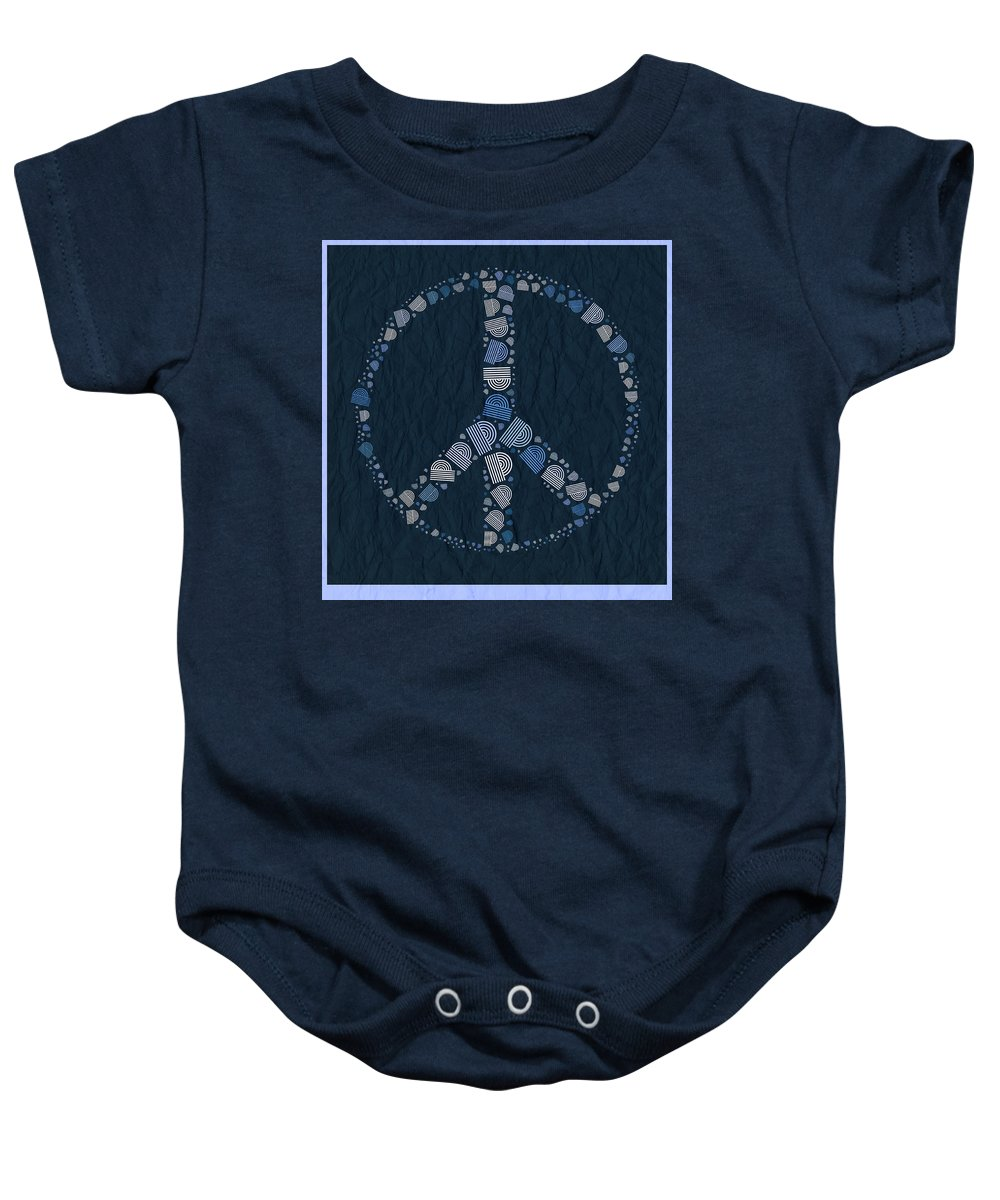 blue Peace Baby Onesie featuring the digital art Peace Symbol Design - Bld01t01  by Variance Collections