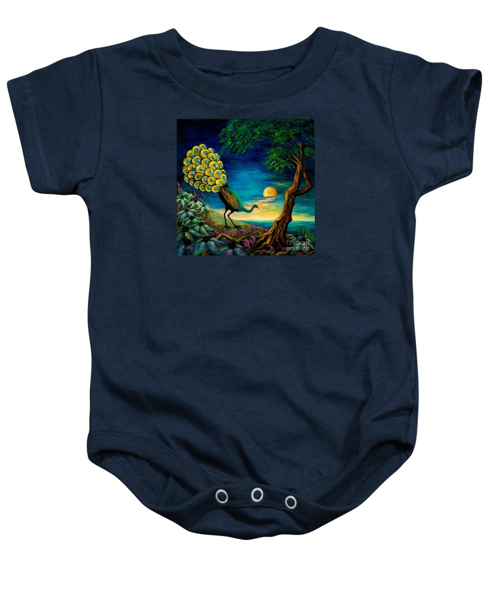 Peacock Baby Onesie featuring the painting Peacock Strolls On The Beach by Larry Martin