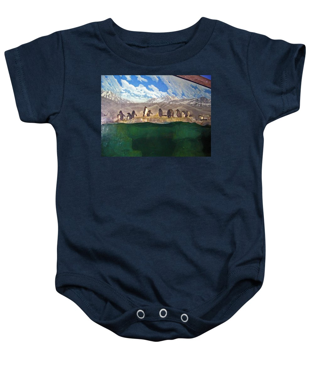 Penguins Baby Onesie featuring the photograph Penguins On Ice by Marian Bell