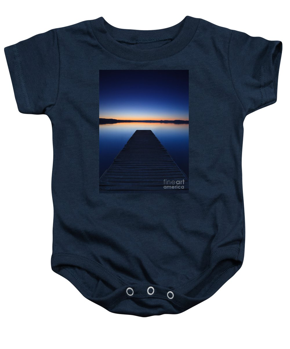 Pier Baby Onesie featuring the photograph Pier On The Lake by Matteo Colombo