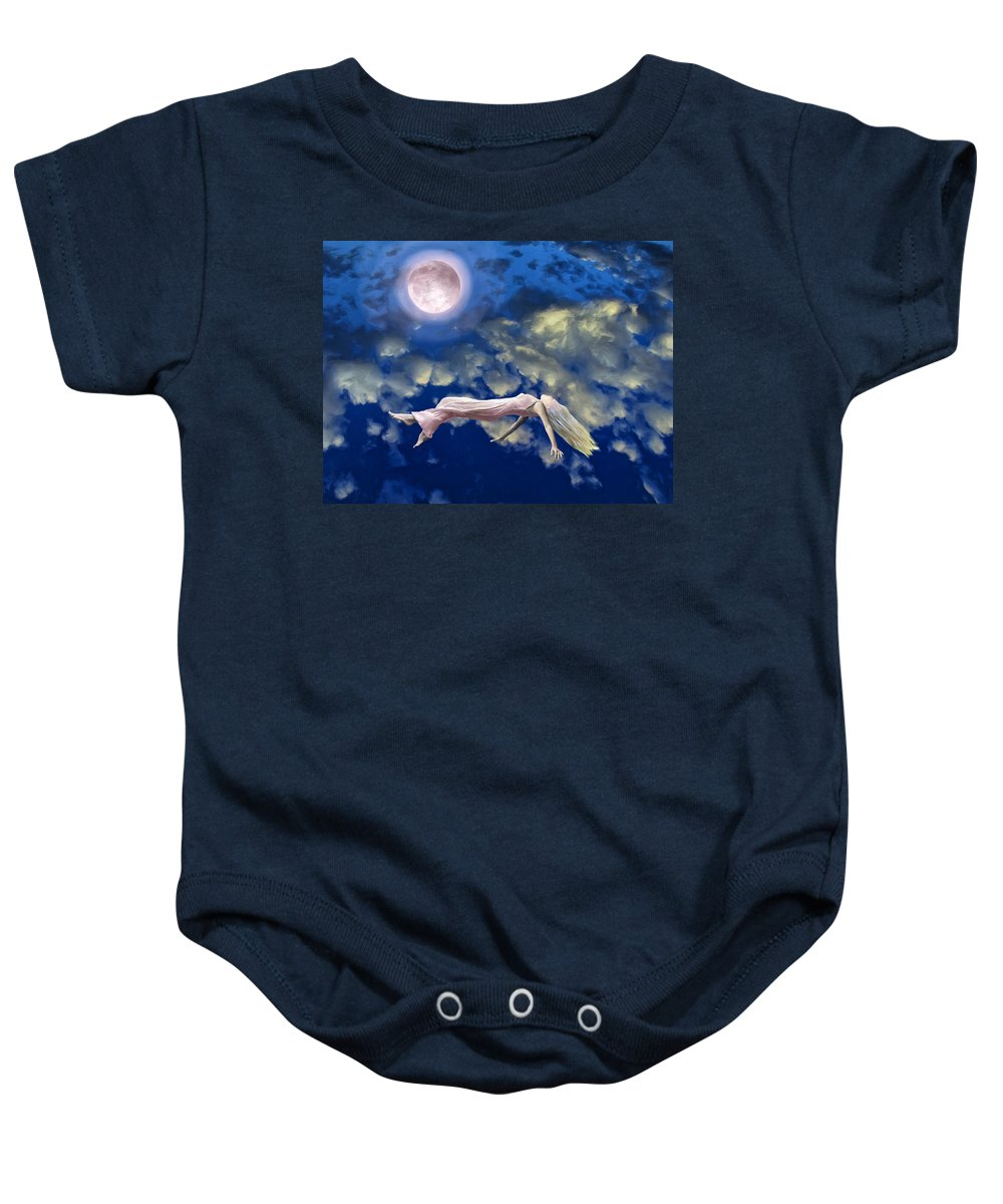 Pink Moon Baby Onesie featuring the painting Pink Moon by Dominic Piperata
