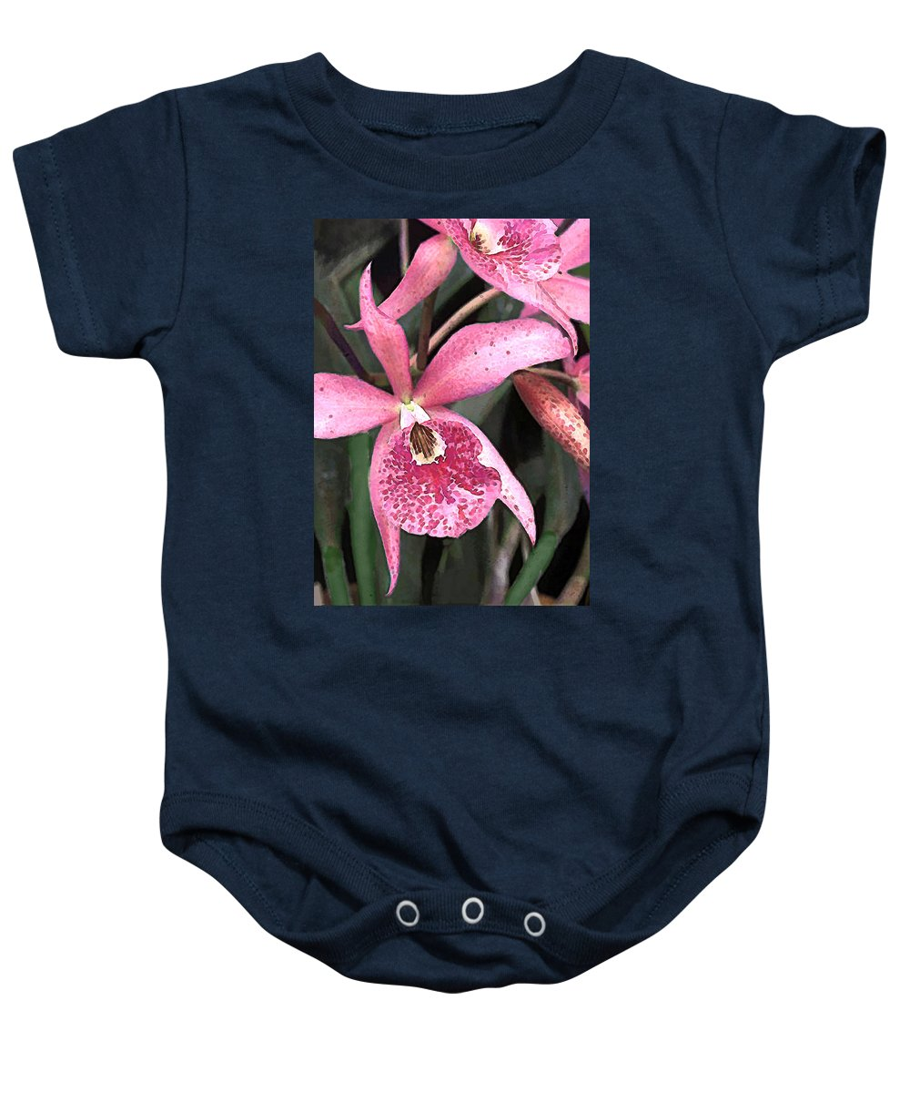 Orchid Baby Onesie featuring the painting Pink Spotted Cattleya Orchids by Elaine Plesser