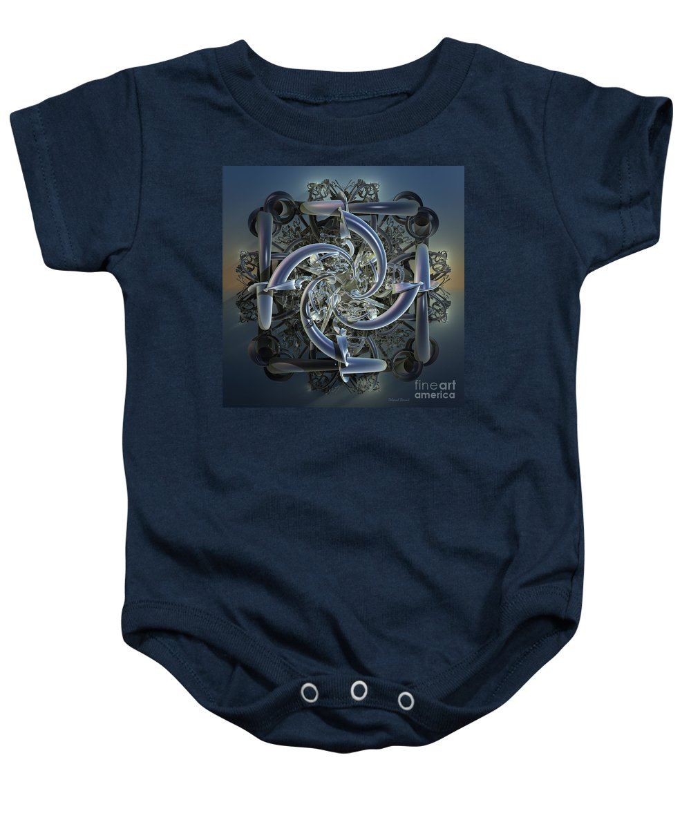Incendia Baby Onesie featuring the mixed media Pipes In Blue by Deborah Benoit
