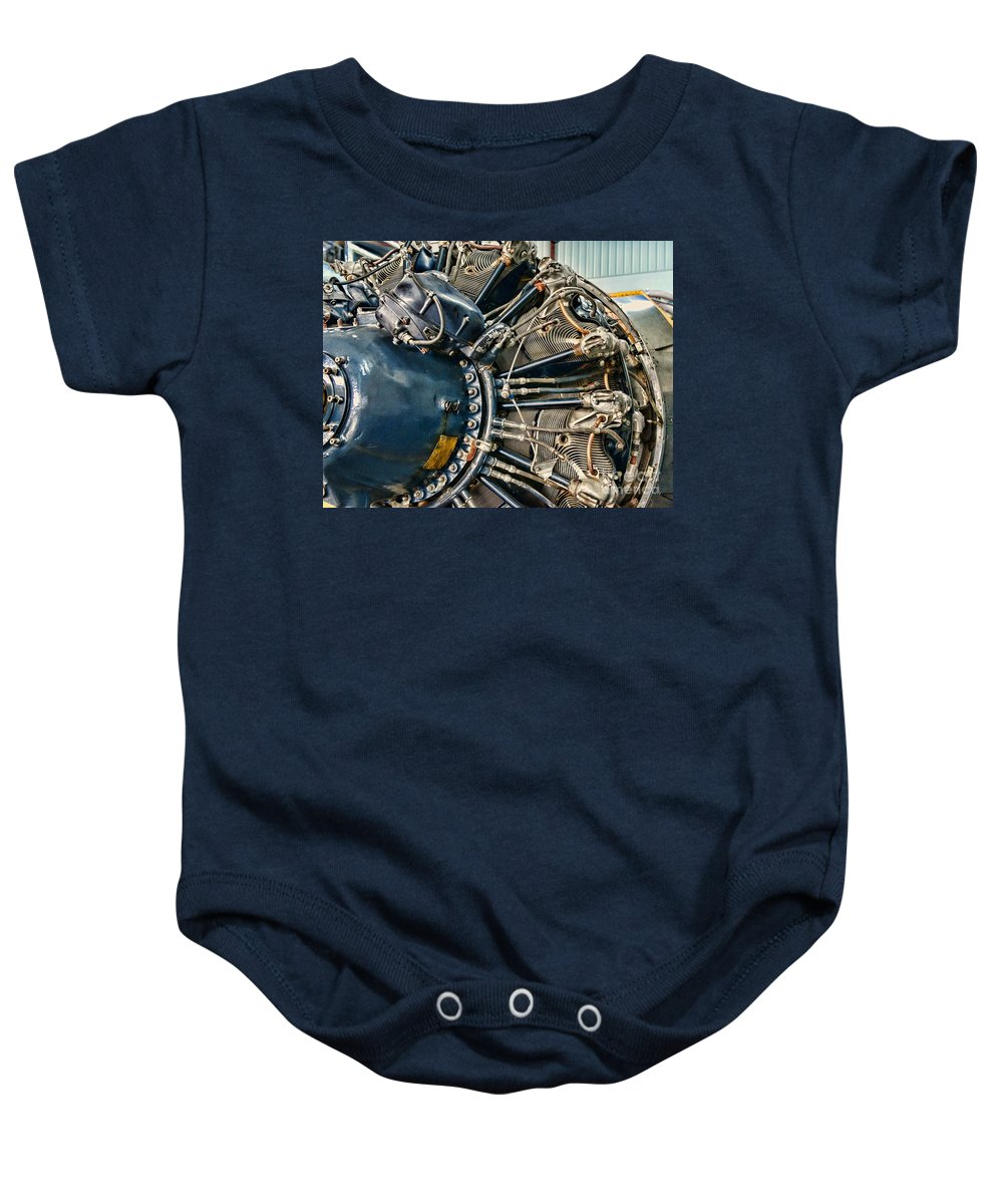 Paul Ward Baby Onesie featuring the photograph Plane Engine Close Up by Paul Ward