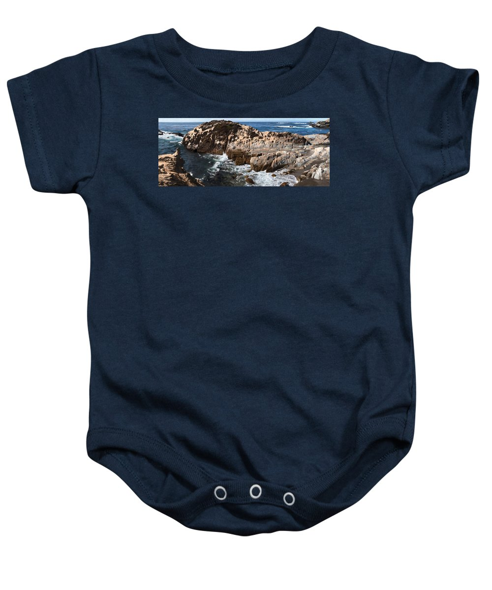 Copyrighted Baby Onesie featuring the painting Point Lobos Coast 2 by Mike Penney