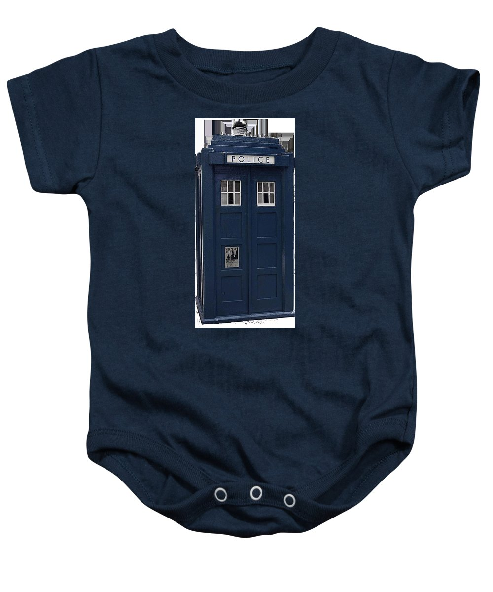 Police Baby Onesie featuring the digital art Police Phone Box by Philip Ralley
