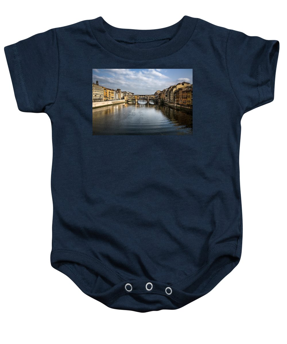 Italy Baby Onesie featuring the photograph Ponte Vecchio by Dave Bowman