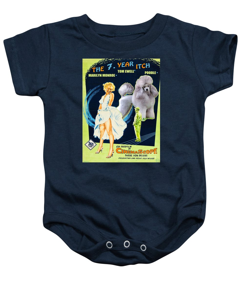 Dog Baby Onesie featuring the painting Poodle Art - The Seven Year Itch Movie Poster by Sandra Sij