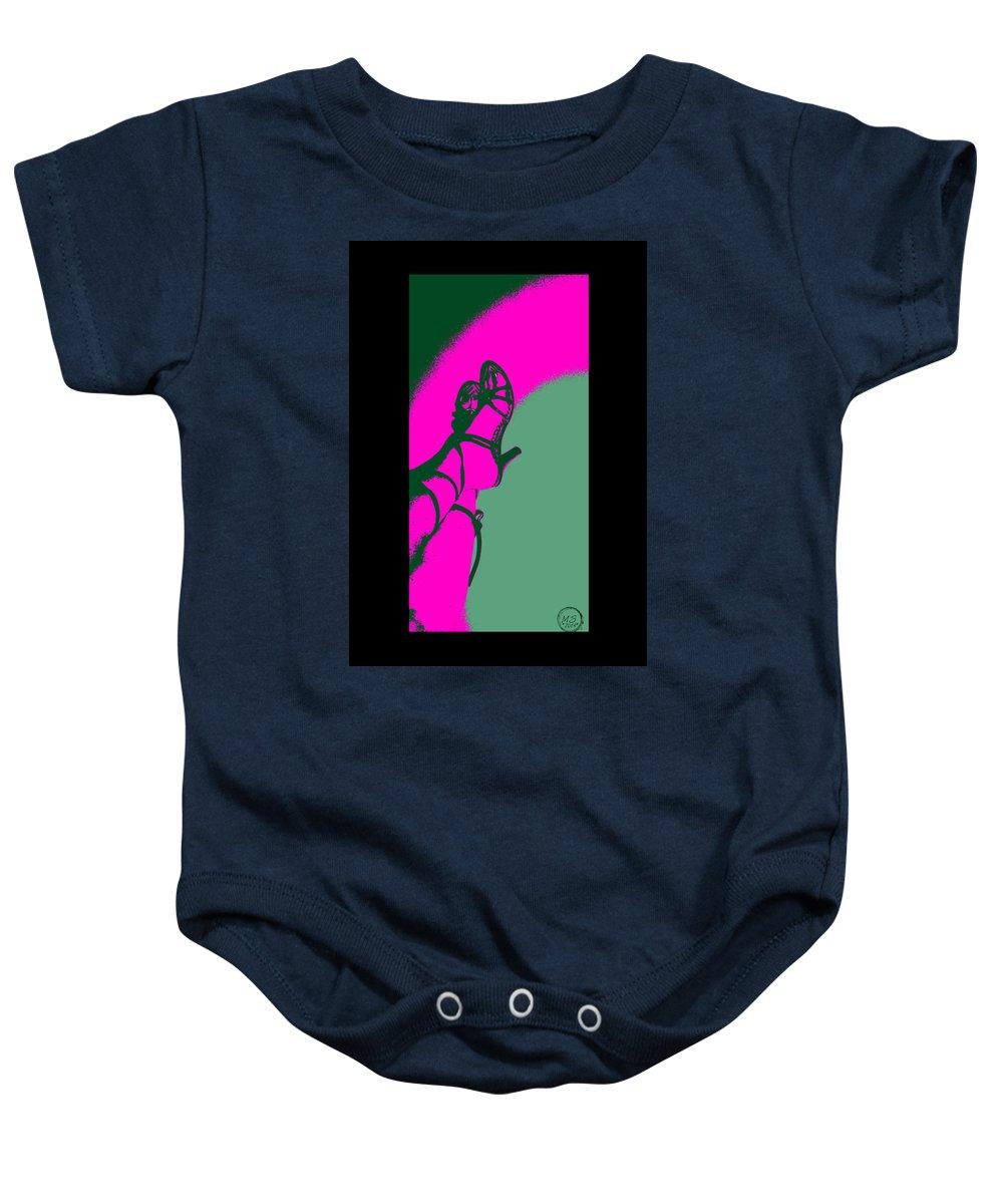 Shoes Baby Onesie featuring the digital art Pop Art Shoes In Pink by Absinthe Art By Michelle LeAnn Scott