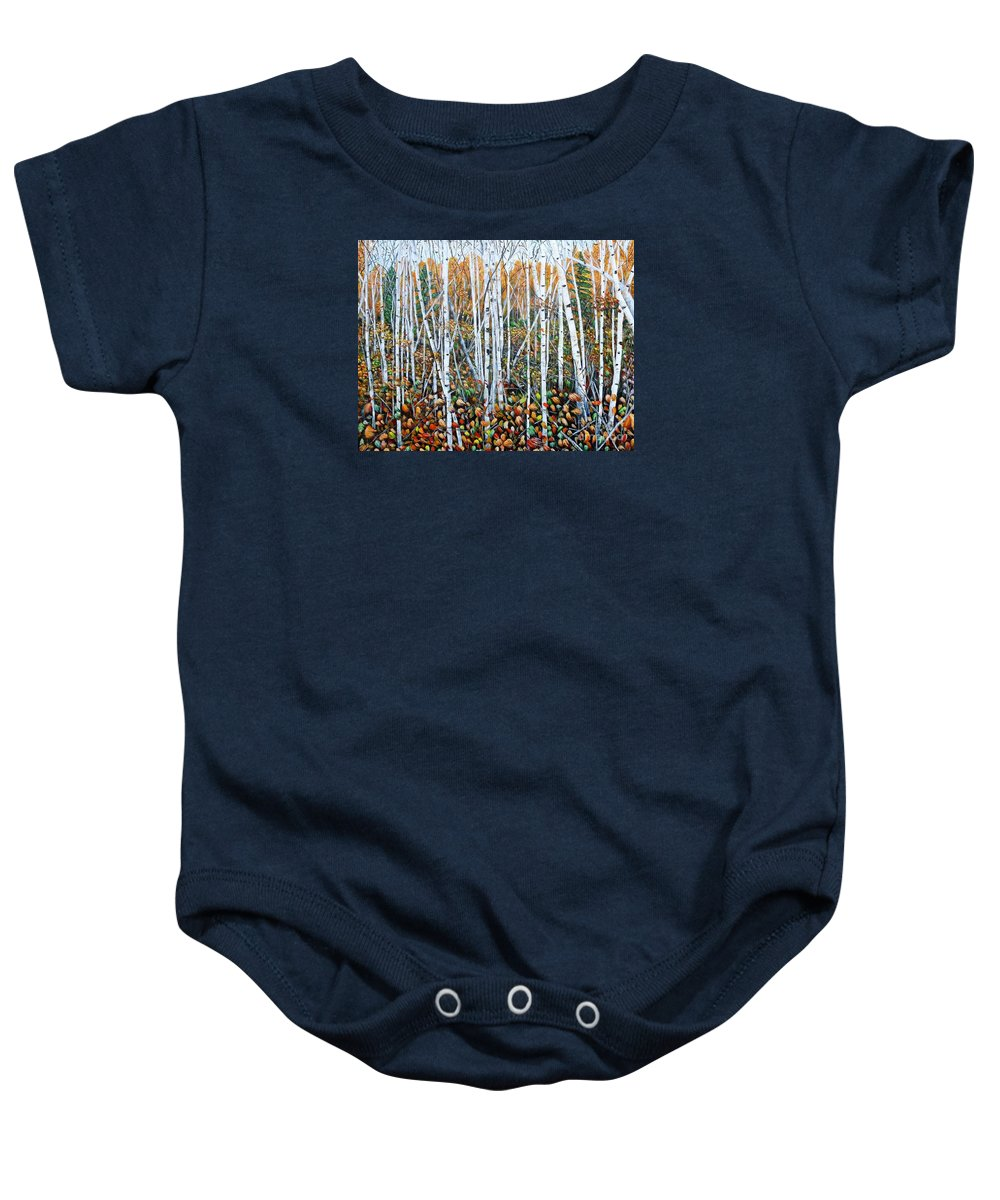 Birch Baby Onesie featuring the painting Poplar Art by Marilyn McNish