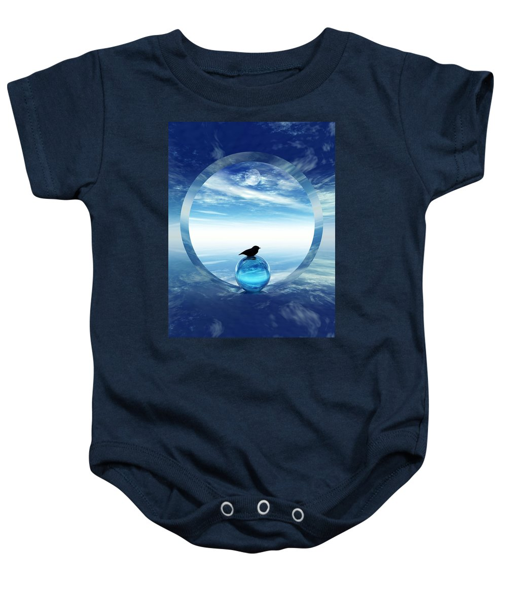 Portal Baby Onesie featuring the digital art Portal To Peace by Richard Rizzo