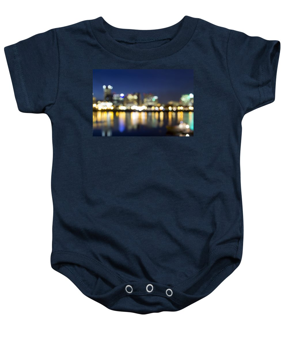 Portland Baby Onesie featuring the photograph Portland Downtown Out Of Focus City Lights by Jit Lim