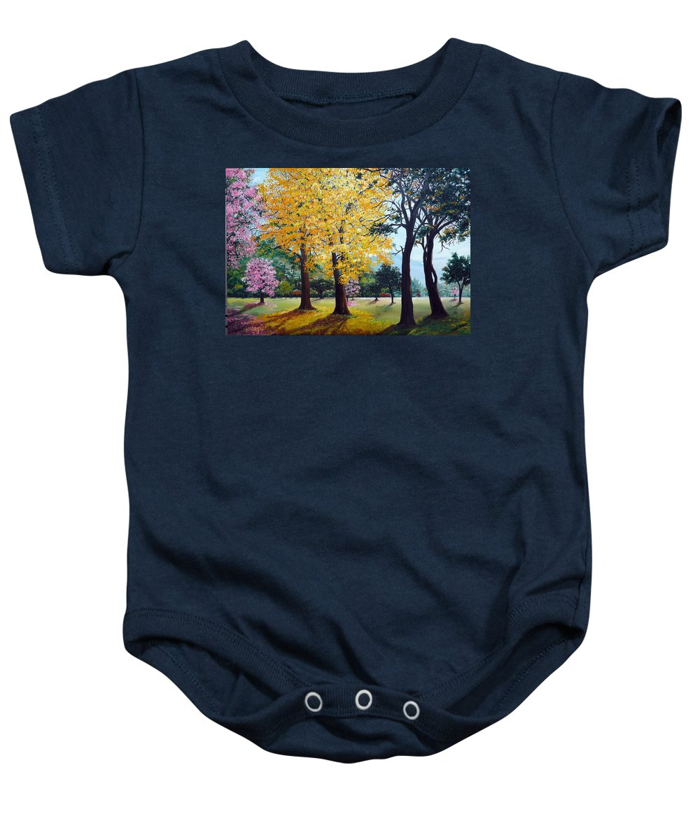 Tree Painting Landscape Painting Caribbean Painting Poui Tree Yellow Blossoms Trinidad Queens Park Savannah Port Of Spain Trinidad And Tobago Painting Savannah Tropical Painting Baby Onesie featuring the painting Poui Trees in the Savannah by Karin Dawn Kelshall- Best