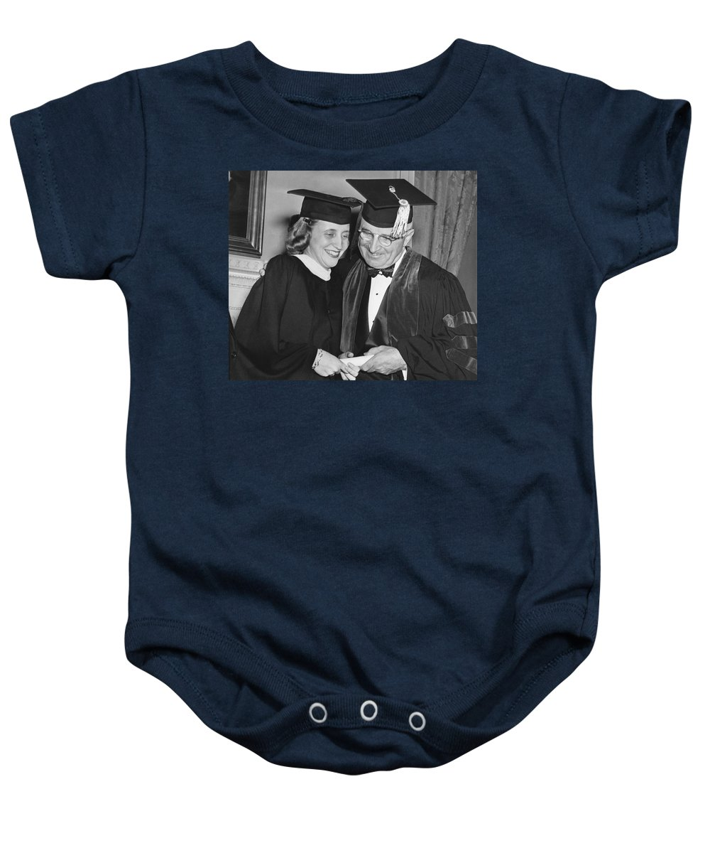 1946 Baby Onesie featuring the photograph President Truman And Daughter by Underwood Archives