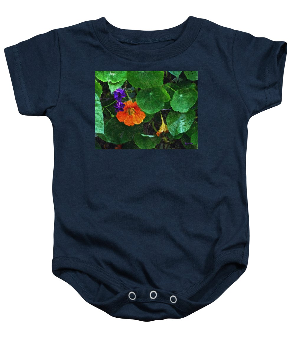 Nasturtiums Baby Onesie featuring the painting Prolonging Summer by RC deWinter