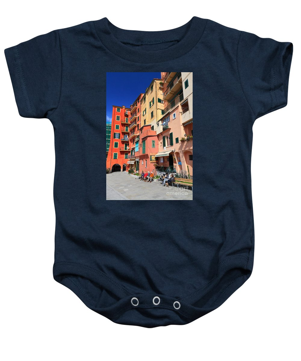 Ancient Baby Onesie featuring the photograph promenade and homes in Camogli by Antonio Scarpi