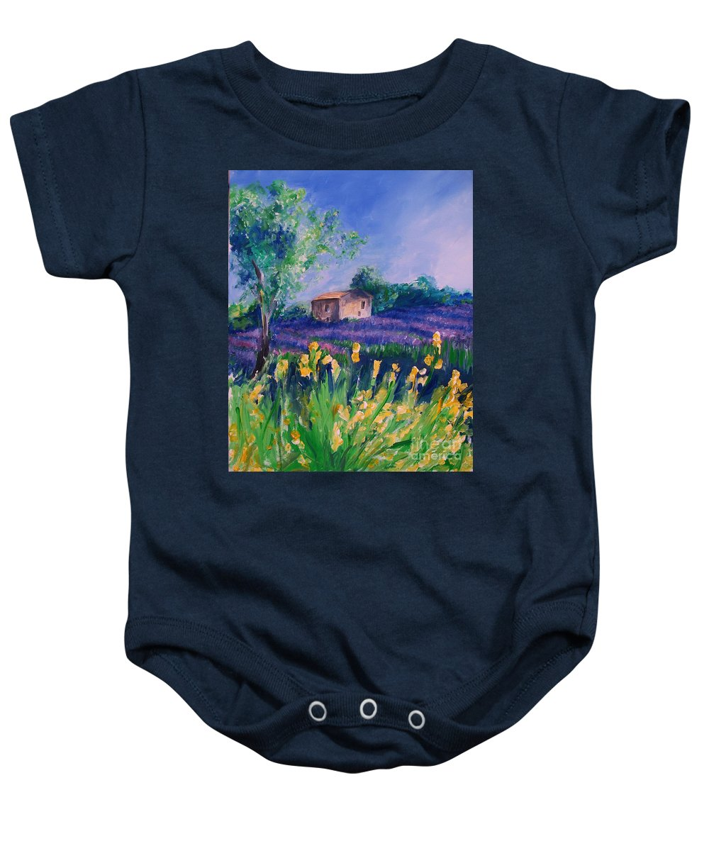 Floral Baby Onesie featuring the digital art Provence Yellow Flowers by Eric Schiabor