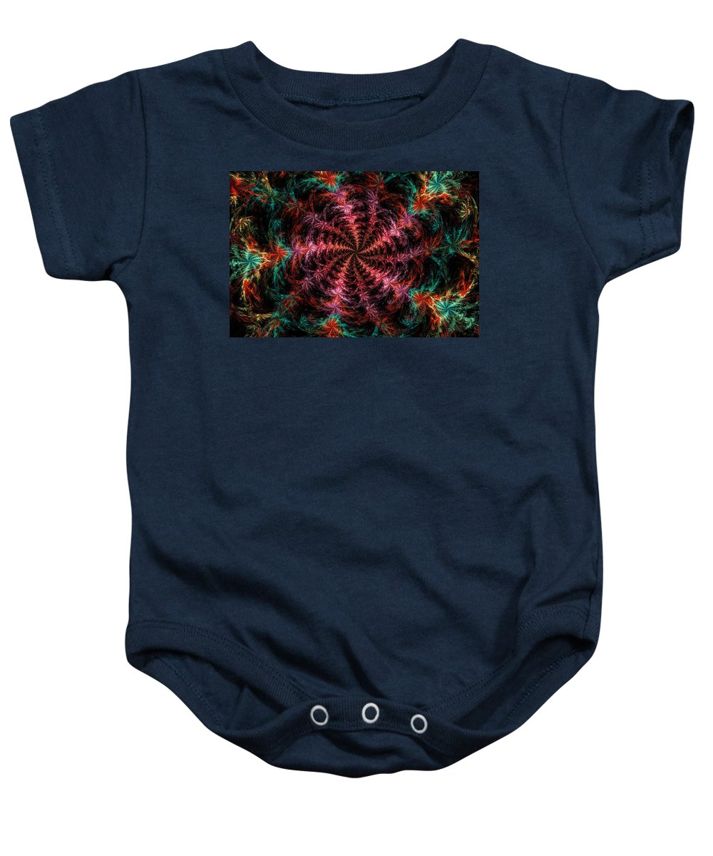 Round Baby Onesie featuring the photograph Psychedelic Spiral Vortex Purple Pink And Teal Fractal Flame by Keith Webber Jr