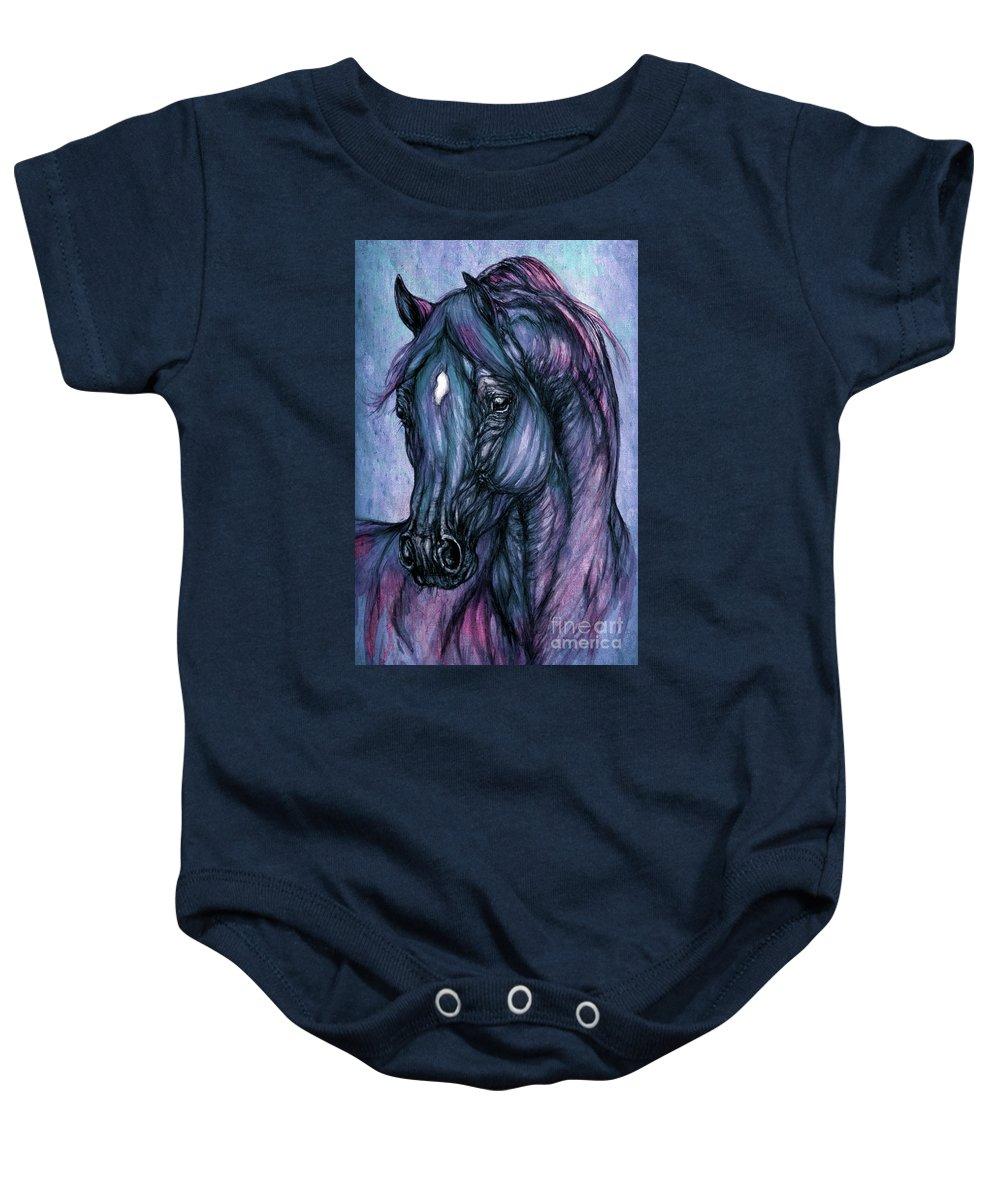 Horse Baby Onesie featuring the painting Psychodelic Deep Blue by Angel Ciesniarska