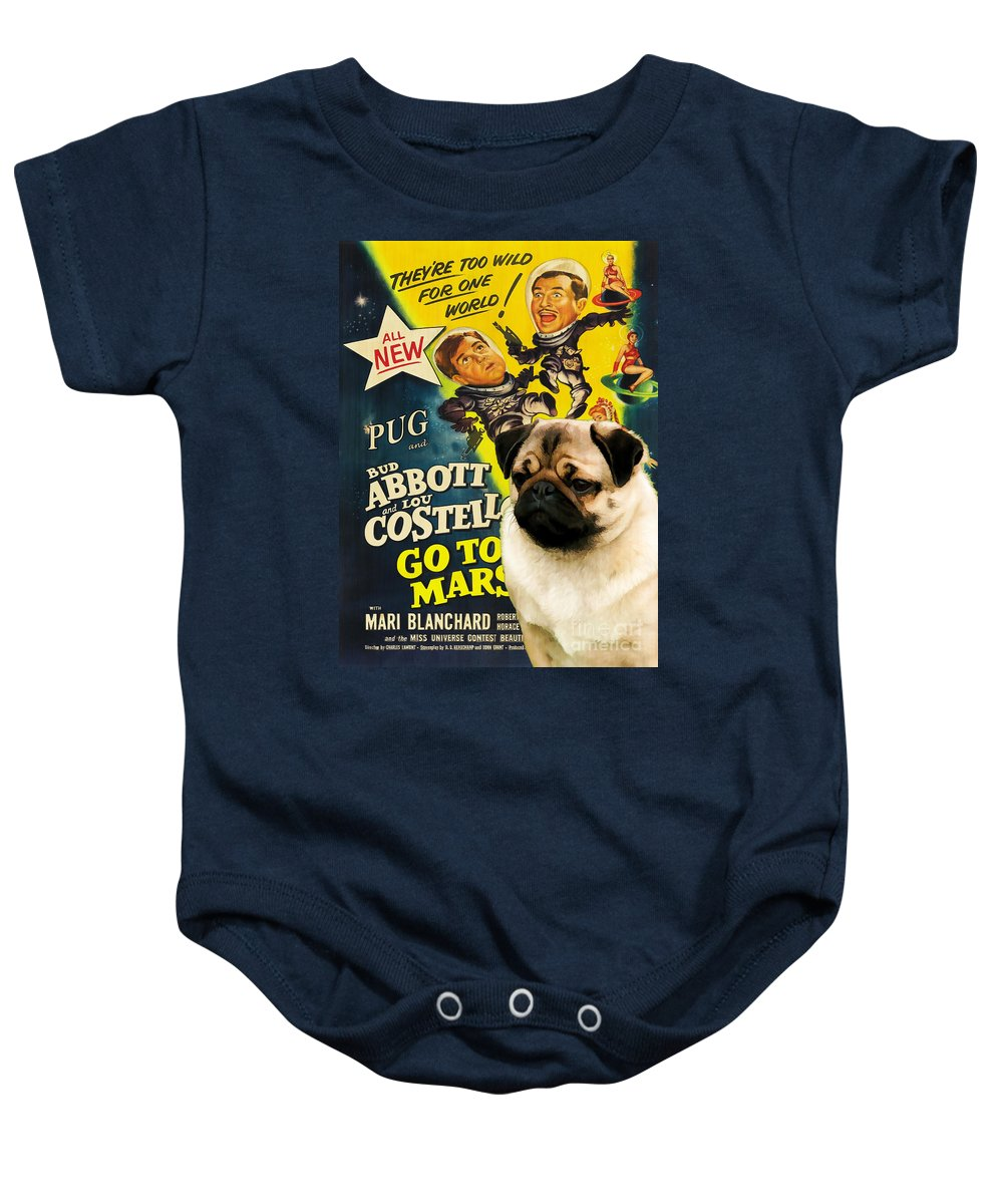 Dog Baby Onesie featuring the painting Pug Art - Abbott And Costello Go To Mars by Sandra Sij
