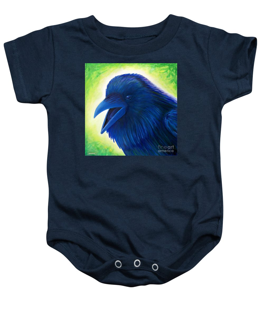 Raven Baby Onesie featuring the painting Raaawk by Brian Commerford