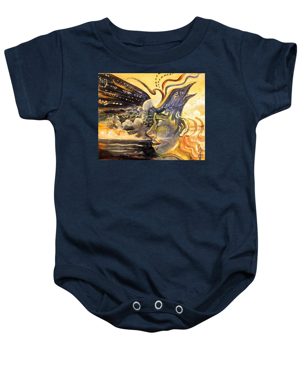 Raven Baby Onesie featuring the painting Raven Call by Crystal Charlotte Easton