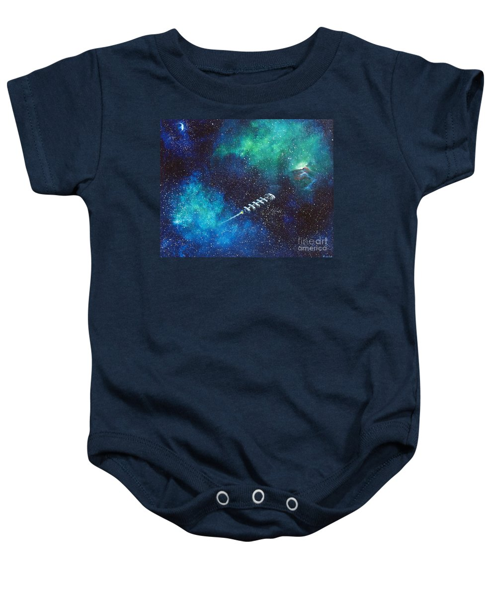 Spacescape Baby Onesie featuring the painting Reaching Out by Murphy Elliott