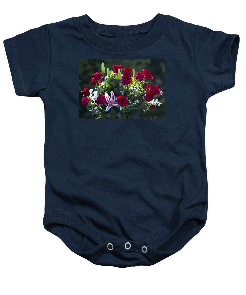 Red Baby Onesie featuring the photograph Red Roses Say I Love You by Kathy Clark