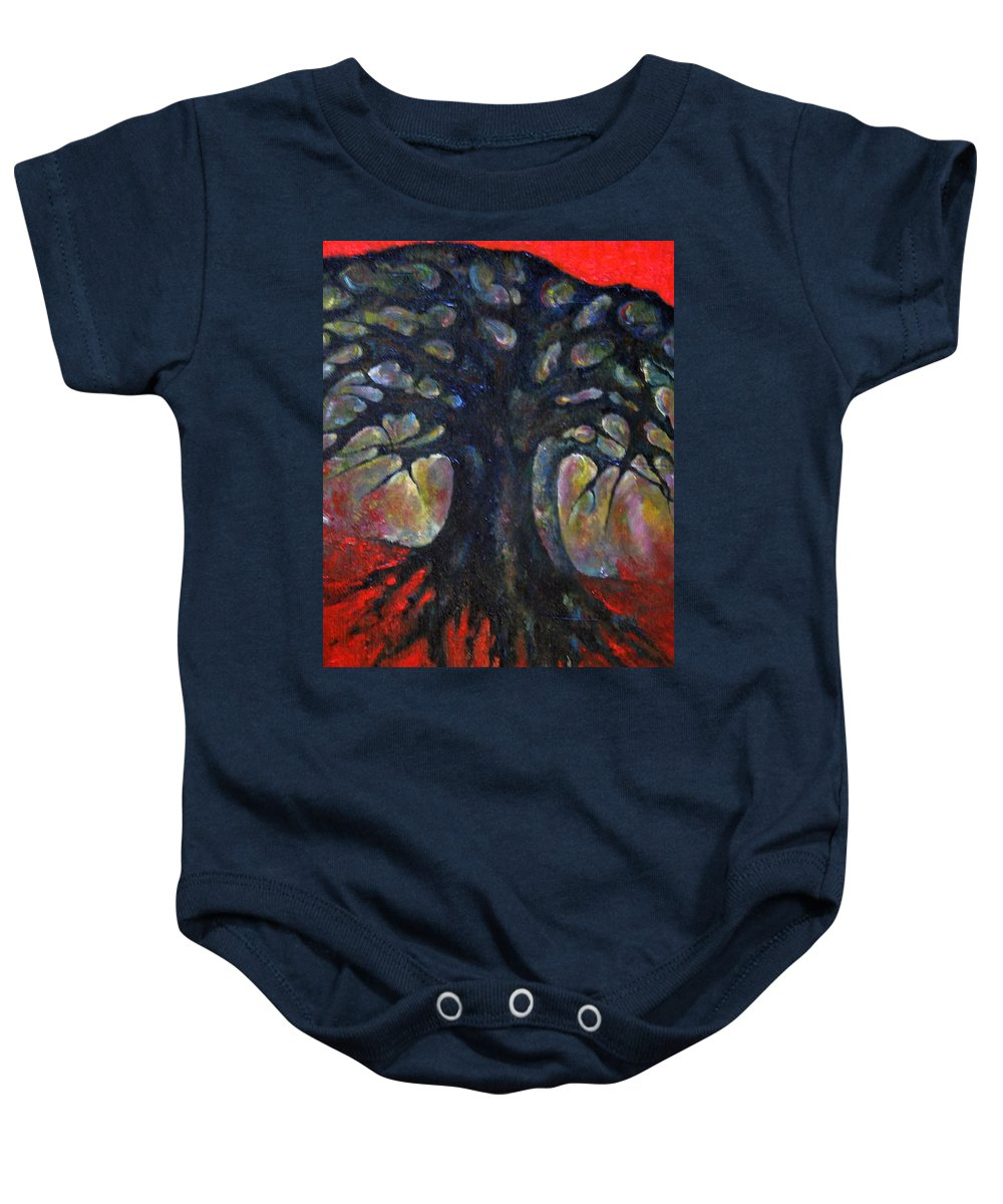 Colour Baby Onesie featuring the painting Red Tree by Wojtek Kowalski
