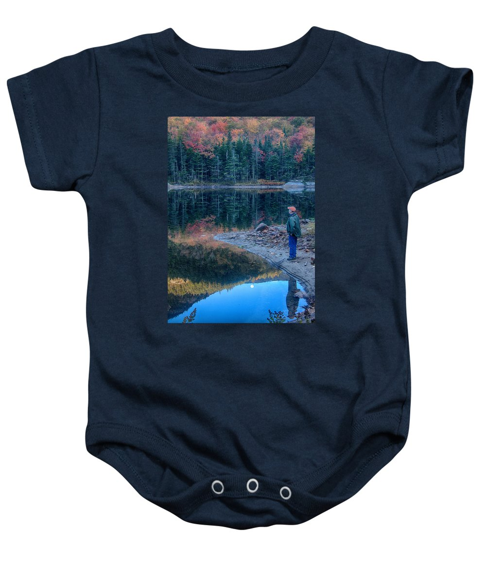 Kinsman Notch Baby Onesie featuring the photograph Reflecting On Fall Foliage Reflection by Jeff Folger