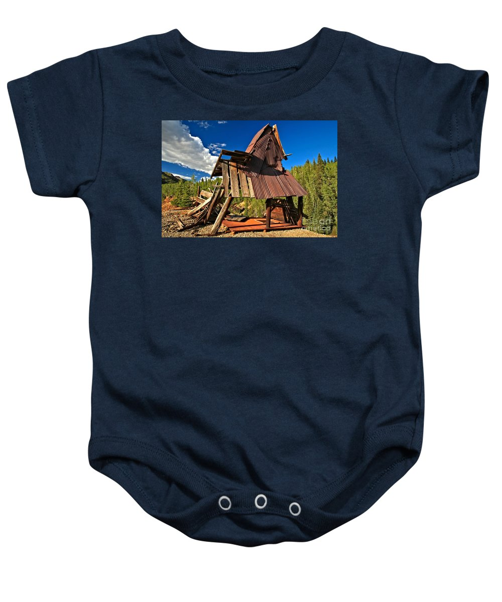 Mining Town Building Baby Onesie featuring the photograph Remnants Of The Colorado Gold Rush by Adam Jewell
