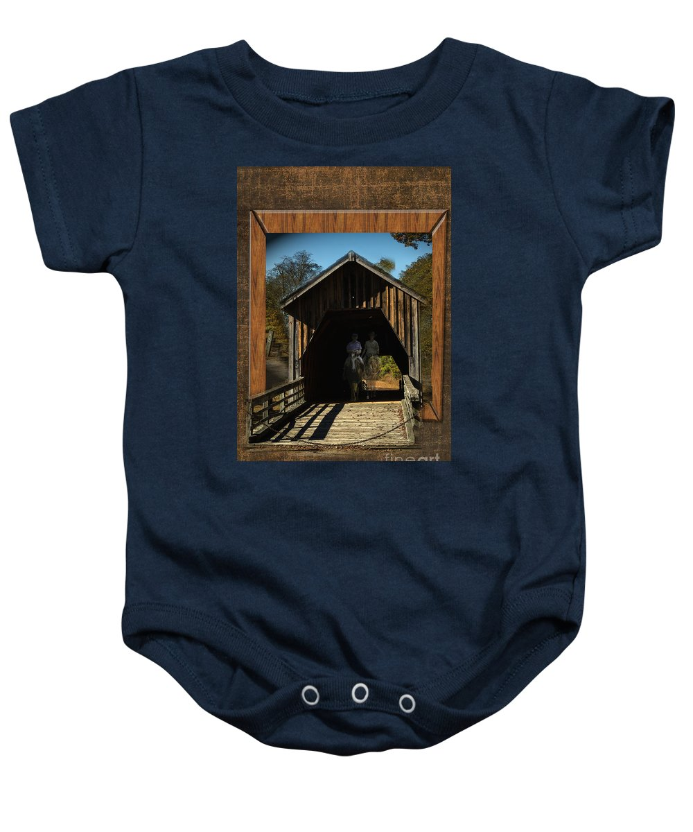 Out Of Bound Baby Onesie featuring the photograph Riders From The Pass by Donna Brown