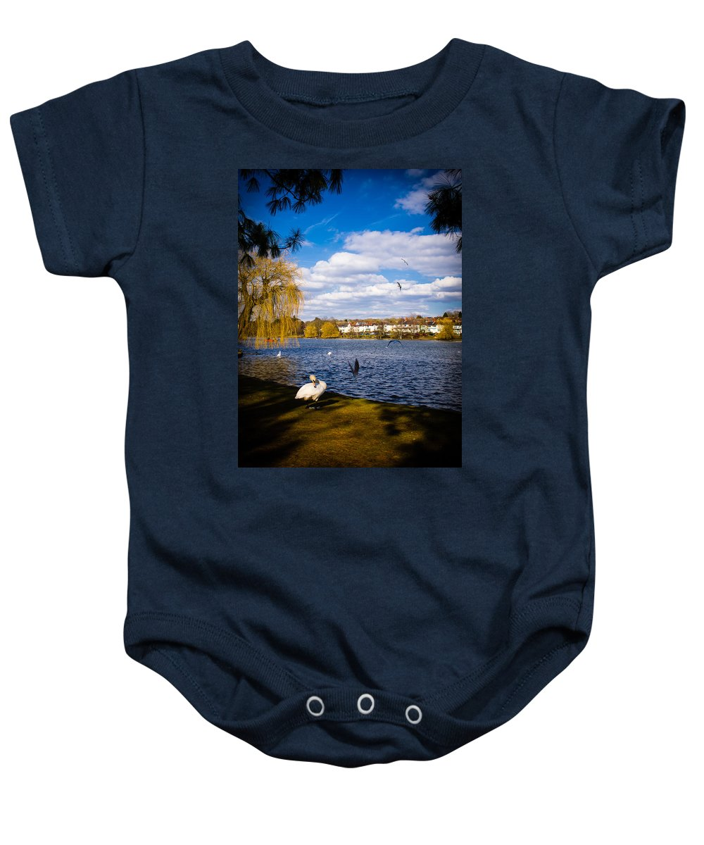 Beak Baby Onesie featuring the photograph Roath Park Lake by Mark Llewellyn